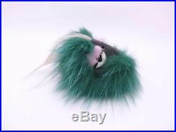 Auth FENDI Bag Bugs Monster Bag Charm Green/Black Fur/Goldtone USED e42871