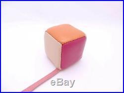 Auth FENDI Leather Cube Bag Charm Multicolor Leather/Goldtone e43381