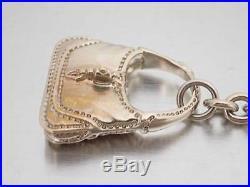 Auth GUCCI Jackie Bag Motif Key Holder Bag Charm Goldtone Metal withBox e38985