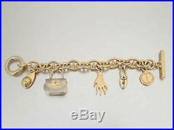Auth Gucci Charms Chain Bracelet Goldtone Metal USED e41838
