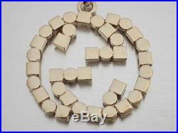 Auth Gucci Interlocking G Bag Charm Key Holder Goldtone Metal e41618