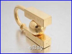 Auth HERMES 2001 LHOMME PEUT Cadena Bag Charm Goldtone Metal withBox e44207