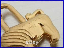 Auth HERMES AFRICA 1997 Cadena Bag Charm Goldtone Metal e43620