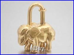 Auth HERMES Animal Motif Elephant Cadena Bag Charm Goldtone Metal e38681