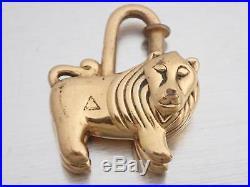 Auth HERMES Animal Motif Lion Cadena Bag Charm Goldtone Metal USED e38579