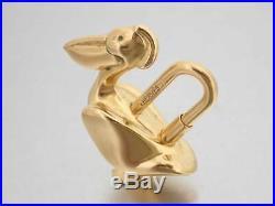 Auth HERMES Animal Motif Pelican Cadena Bag Charm Goldtone Metal withBox e41511