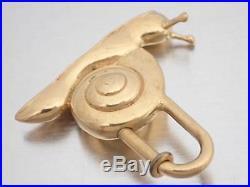 Auth HERMES Animal Motif Snail Cadena Bag Charm Goldtone Metal USED e38778