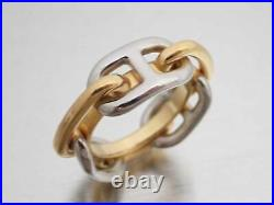 Auth HERMES Chain d' Ancre Scarf Ring Charm Silver/Goldtone Metal RARE e46510f