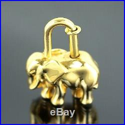 Auth HERMES Elephant Cadena Lock Bag Charm Gold Tone with Box