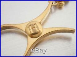 Auth HERMES Filo Glove Chain Holder Bag Charm Goldtone Metal USED e40514