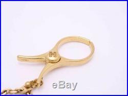 Auth HERMES Filou Glove Holder Bag Charm Goldtone e43386