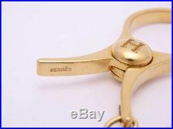 Auth HERMES Filou Glove Holder Charm Goldtone USED e38729