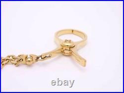 Auth HERMES Filou H Logo Glove Holder Bag Charm Goldtone Metal e45985a