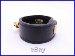 Auth HERMES Glove Holder Bag Charm Black Leather/Goldtone e42083