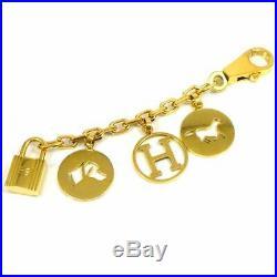 Auth HERMÈS Gold-tone Breloque Amulette 4 Bag Charm Cadena G1487