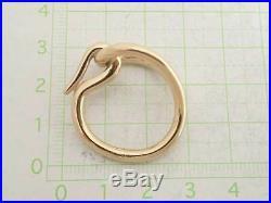 Auth HERMES Jumbo Scarf Ring Charm Goldtone Metal MINT e39525