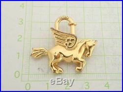 Auth HERMES Pegasus Cadena Bag Charm Goldtone Metal USED e40916
