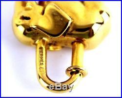 Auth Hermes Elephant Motif Gold Tone Brass Metal Cadena Lock Bag Chame Pendant