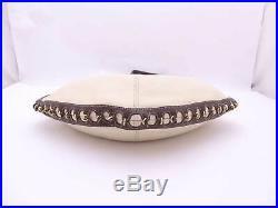 Auth LOEWE Anagram Shoulder Bag Brown/Ivory/Goldtone Leather withcharm e45153c