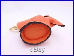 Auth LOEWE Elephant Motif Coin Purse Bag Charm Orange Leather/Goldtone e41076