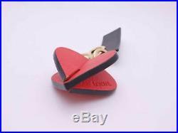 Auth LOEWE Heart Motif Keyring Bag Charm Red/Black Leather/Goldtone e41075