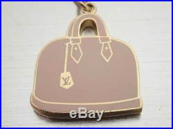 Auth LOUIS VUITTON Alma Motif Bag Charm Pink/Amarante Goldtone/Enamel e39828