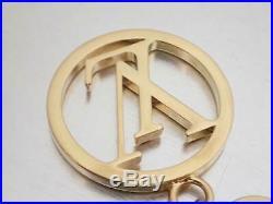 Auth Louis Vuitton Bag Charm LV Circle Key Holder Goldtone Metal e44631c