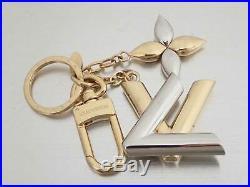 Auth Louis Vuitton Bag Charm Twist Key Holder Silver/Goldtone Metal e40710