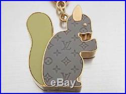 Auth Louis Vuitton Bijour Sac Animania Squirrel Charm Gray/Green/Goldtone e43605