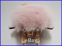 Auth Louis Vuitton Bijour Sac Wild Fur Bag Charm Pink/White/Goldtone Fur e43712