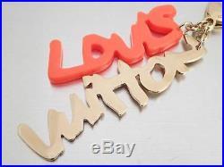 Auth Louis Vuitton Bijoux Sac Graphiti Bag Charm Orange/Goldtone Plastic e37812