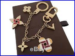 Auth Louis Vuitton Chain Pop Flower Bag Charm Multi/Goldtone Enamel/Metal e41712