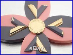 Auth Louis Vuitton Flower V GM Bag Charm Gray/Pink/Goldtone Plastic/Metal e39903