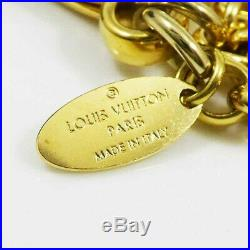 Auth Louis Vuitton Gold-tone Fleur de Monogram Bag Charm Key Chain Ring H1773