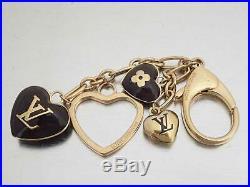 Auth Louis Vuitton Heart Motif Bag Charm Brown/Goldtone Enamel/Metal e44428c