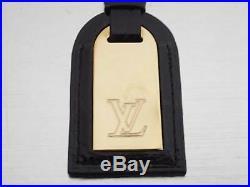 Auth Louis Vuitton LV Logo Key holder Bag Charm Black/Goldtone Leather e43232