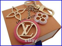 Auth Louis Vuitton Porte Cles Color Line Bag Charm Holder Pink/Goldtone e44506c