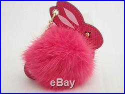 Auth Louis Vuitton Rabbit Motif Bag Charm Pink/Goldtone Mink Fur UNUSED e40206