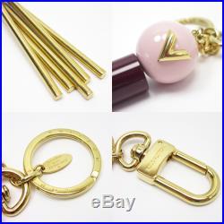 Auth Louis Vuitton Totem LV Bag Charm Key Ring Pink/Bordeaux/Gold M68007 x2607