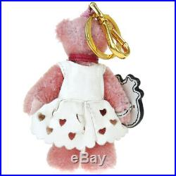 Auth PRADA Logo Bear Bag Charm Key Chain Leather Nylon Gold-tone Pink 02AB058