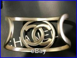 Auth Rare CHANEL Classic Gold Tone CC Logo Bangle Cuff Bracelet