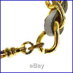 Authentic CHANEL CC Logo Charm Chain Long Belt Gold-Tone White 66ER199