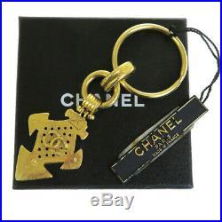 Authentic CHANEL CC Logos Bag Charm Key Chain Ring Gold-Tone 04P Vintage 60ES970