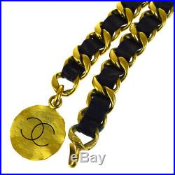 Authentic CHANEL CC Logos Charm Chain Long Belt Leather Gold-Tone 95P 61EP656
