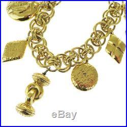 Authentic CHANEL CC Logos Matelasse Chain Bracelet Bag Charm Gold-tone 34BD856