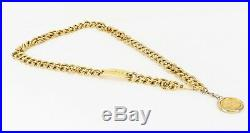 Authentic CHANEL Goldtone Chain Belt with Round CC Logo Charm #32334