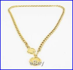 Authentic CHANEL Goldtone Chain Belt with Round CC Logo Charm #33883