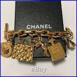 Authentic Chanel CC Icon Logo Goldtone 5 Plate Charm Bracelet Vintage 28