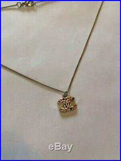 Authentic Chanel Necklace Rhinestones CC Logo Gold TONE Pink 08A Valentine's