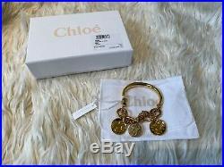 Authentic Chloe Gold Tone Emoji Charm Disc Coin Bracelet Bangle BNWT